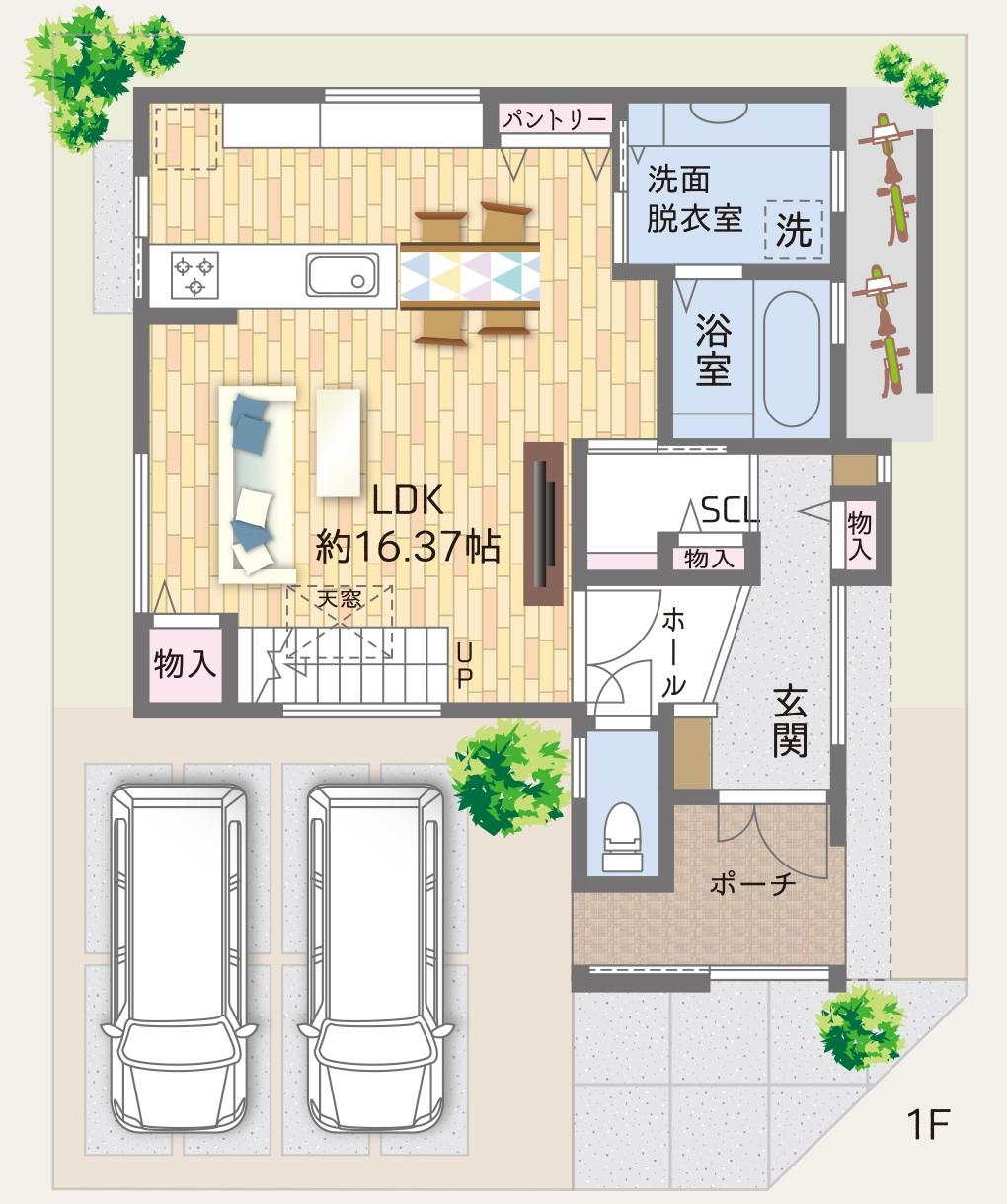 岸和田市春木若松モデルハウス 間取り図 1階