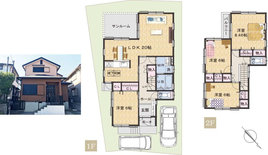 岡山町中古一戸建住宅 間取り図